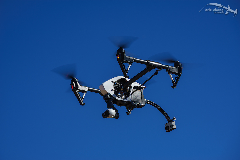 DJI Inspire 1, build number 23, with GoPro attached to back for third-person view perspective.