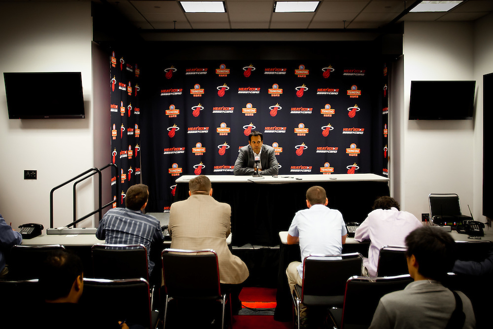 MIAMI, FL -- January 29, 2012 -- Miami head coach Erik Spoelstra speaks to the media before the 97-93 Miami Heat win over the Chicago Bulls at American Airlines Arena in Miami, Fla., on Sunday, January 29, 2012.  (Chip Litherland for ESPN the Magazine)
