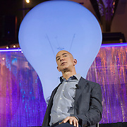 October 11, 2013 - Seattle, Washington, United States: Amazon.com Founder and CEO Jeff Bezos speaks on stage during a launch event for the Bezos Center for Innovation at the Museum of History and Industry. Bezos is also the owner of The Washington Post and founder of Blue Origin.