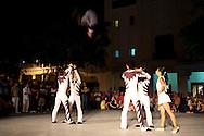 "Acrobatic group ""Cirarte"" in Parque Calixto Garcia in Holguin, Cuba."