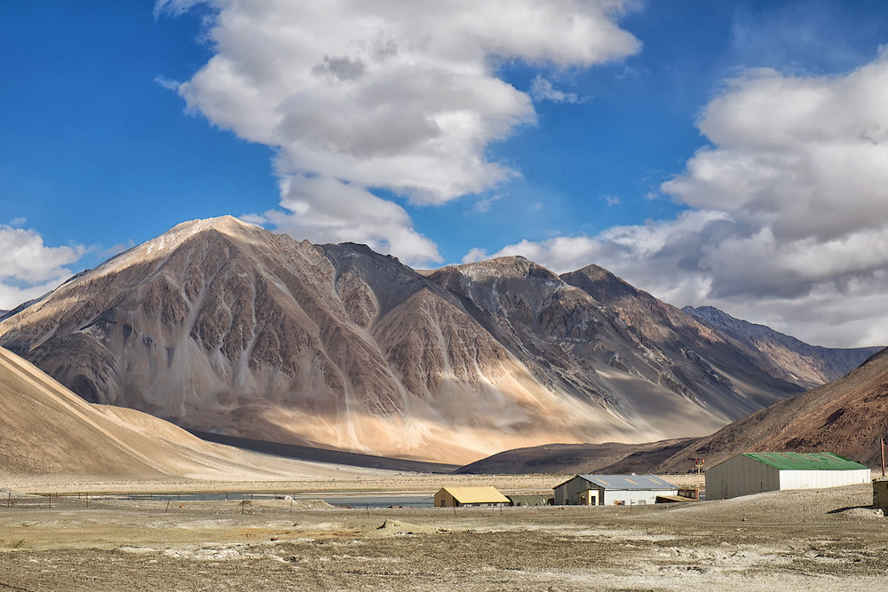 The mountains surrounding Pangong Tso