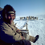 Images from assignment work in Igloolik, Eastern Canadian Artic, in 1985-1986.  Igloolik is an Inuit community with traditional hunting and fishing and a strong sense of self government.  Tatagot with his dog team.