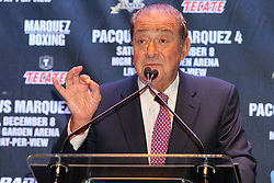 Sept 19, 2012; New York, NY, USA; Promoter Bob Arum during the press conference announcing the fourth fight between Manny Pacquiao and Juan Manuel Marquez at The Edison Ballroom.