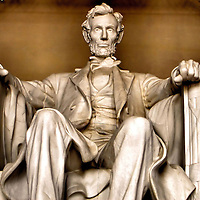 Abraham Lincoln Statue at Lincoln Memorial in Washington, D.C.<br />