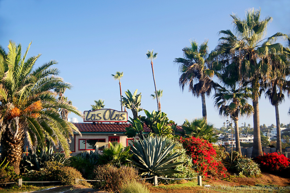 USA, California, Cardiff by the Sea. Las Olas restaurant on Pacific Coast Highway.