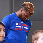 Delaware 87ers Guard SEAN KILPATRICK (14) seen during the singing of the National Anthem prior a NBA D-league regular season basketball game between the Delaware 87ers and the Maine Red Claws Friday, Feb. 19, 2016 at The Bob Carpenter Sports Convocation Center in Newark, DEL.