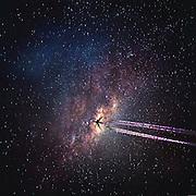 Airplane crossing a starry sky - phoromanipulation