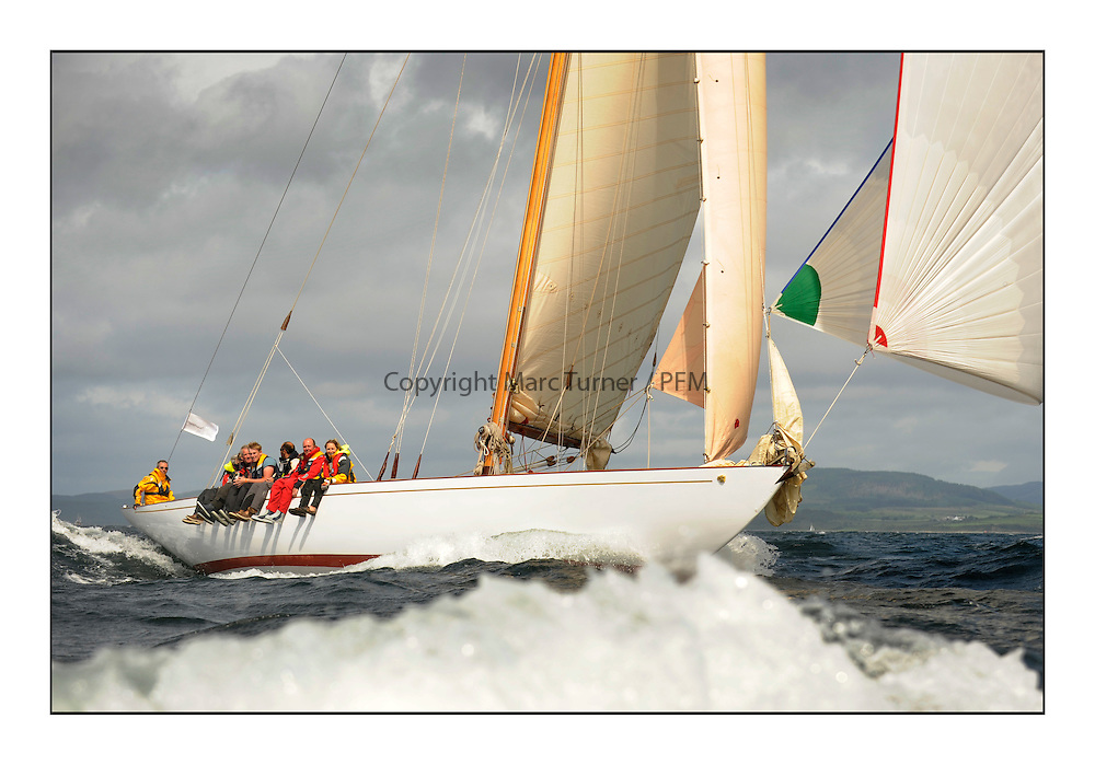 Day five of the Fife Regatta, Race from Portavadie on Loch Fyne to Largs. <br /> <br /> Solway Maid, Roger Sandiford, GBR, Bermudan Cutter, Wm Fife 3rd, 1940<br /> <br /> * The William Fife designed Yachts return to the birthplace of these historic yachts, the Scotland&rsquo;s pre-eminent yacht designer and builder for the 4th Fife Regatta on the Clyde 28th June&ndash;5th July 2013<br /> <br /> More information is available on the website: www.fiferegatta.com