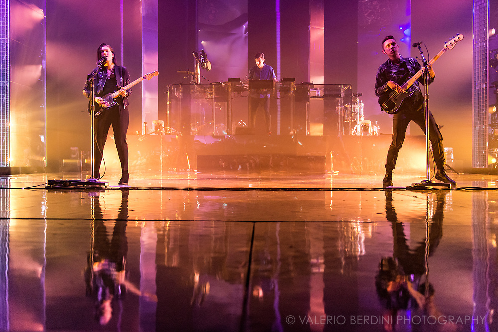 The XX at the London Brixton Academy on Saturday 11 Mar 2017 for their Night &amp; Day residency.<br /> <br /> This photo was published on the Independent, UK on 14 Mar 2017 http://www.independent.co.uk/arts-entertainment/music/reviews/the-xx-brixton-academy-gig-review-i-see-you-jamie-xx-synth-south-london-a7628821.html