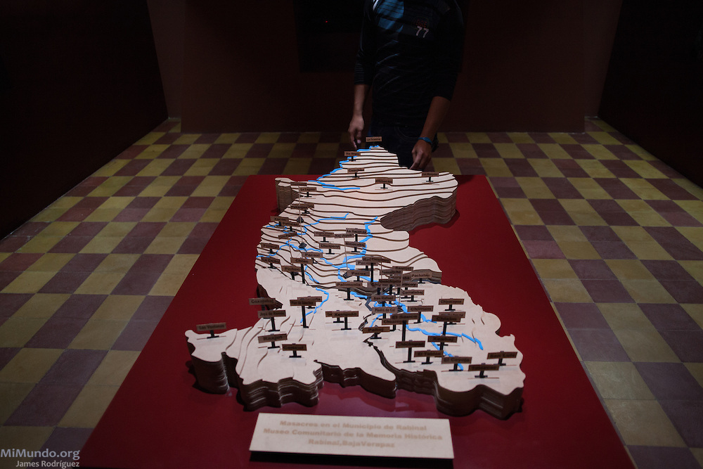 The Hall of the Massacres at the Rabinal Achi Community Museum holds a municipal map of Rabinal indicating where a massacre took place in the early 1980s by the Guatemalan Armed Forces along with the Civil Patrolmen of the region. Rabinal, Baja Verapaz, Guatemala. October 16, 2015.