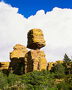 0103-1012D ~ Copyright:  George H. H. Huey ~ Big Balanced Rock, along the Heart-of-Rocks Trail, with summer thunderhead.  Chiricahua National Monument, Arizona.