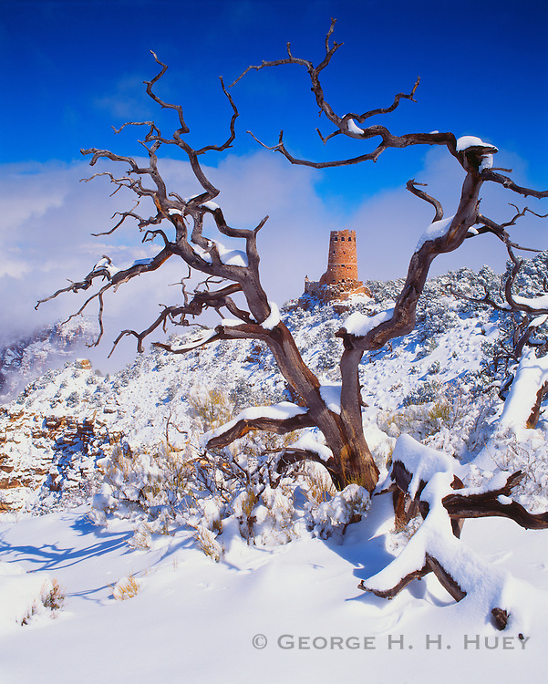 0107-1025C ~ Copyright: George H. H. Huey ~ Desert View Watchtower, winter. Grand Canyon National Park, Arizona.