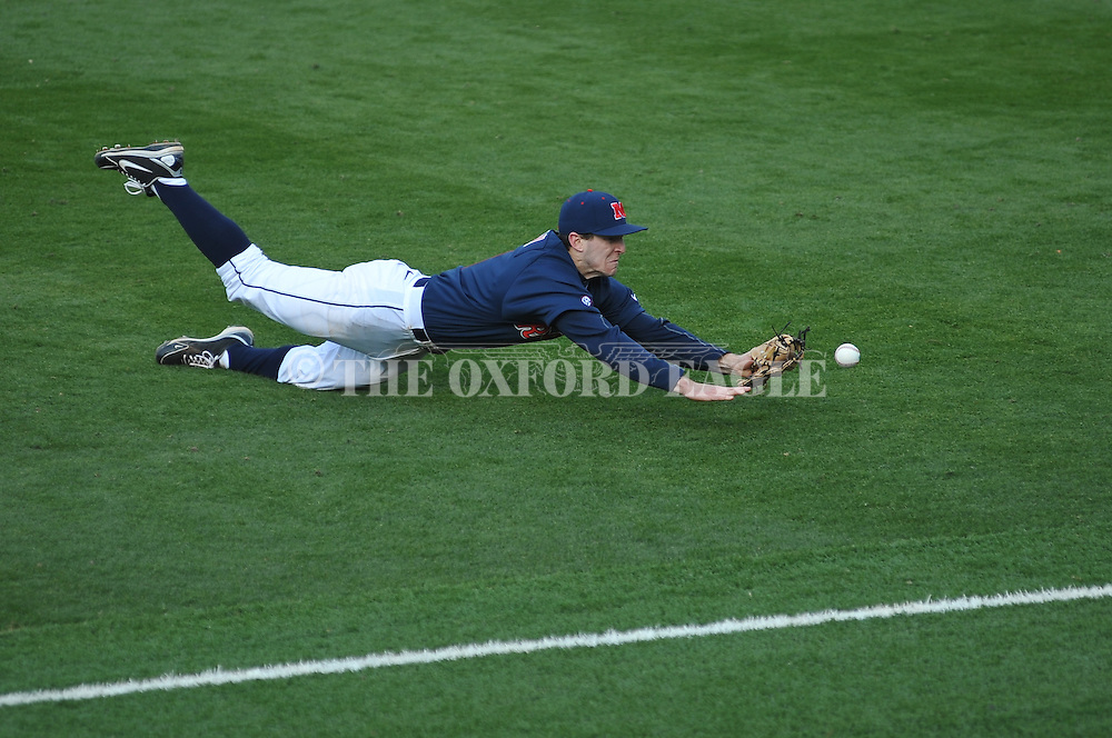 Ole Miss' Lance Wilson (6) is unable to make a diving catch vs. TCU at Oxford-University Stadium on Saturday, February 16, 2013. Ole Miss won 5-2.