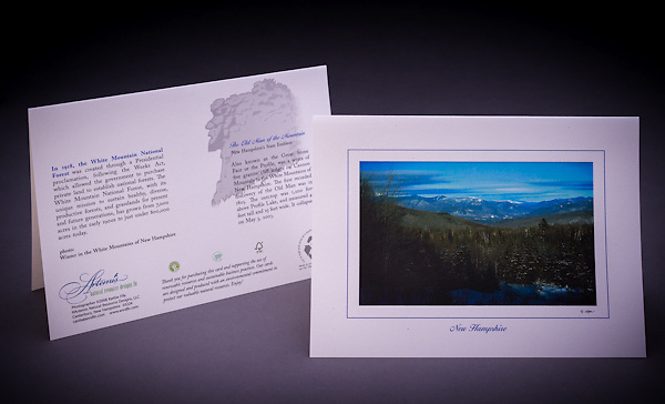 A winter scenic view looking towards the Presidential Range in NH. <br /> <br /> Artemis Photo Greeting Cards featuring NH native flora and fauna and historic sites. The cards are made exclusively in NH made from 100% FSC recycled paper, manufactured with wind and water power, and are archival acid free paper. Each card includes details on the back about the image, including interesting anecdotes, historic facts, conservation status, and recipes.