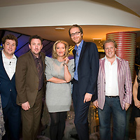 """""""Call My Wine Bluff"""", a high-spirited take on the classic TV game show with two celebrity panels pitting their wits against one another, but this time not over the meaning of words, but the origin of the wine. The event, hosted at Quaglino's restaurant in Mayfair, is a fund-raising event for Action Aid, London, UK..Photos shows the celebrities before the start..Photo shows (left to right), Jan Ravens, Michael Ball, Lee Mack, Emma Thompson, Stephen Merchant, Olly Smith and Shappi Khorsandi."""