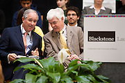 Stephen A. Schwarzman, Chairman and CEO of The Blackstone Group, left, speaks with Jay Noren, President of Wayne State University, right, at the Undergraduate Library at Wayne State University in Detroit, MI, Friday, April 30, 2010. ..The Blackstone Charitable Foundation in collaboration with the New Economy Initiative for Southeast Michigan announced that Wayne State University, Walsh College, and the University of Miami have been selected as partners for The Blackstone Charitable Foundation's grant to help expand The Launch Pad program to two Michigan partners – Walsh College and Wayne State University. (Jeffrey Sauger)