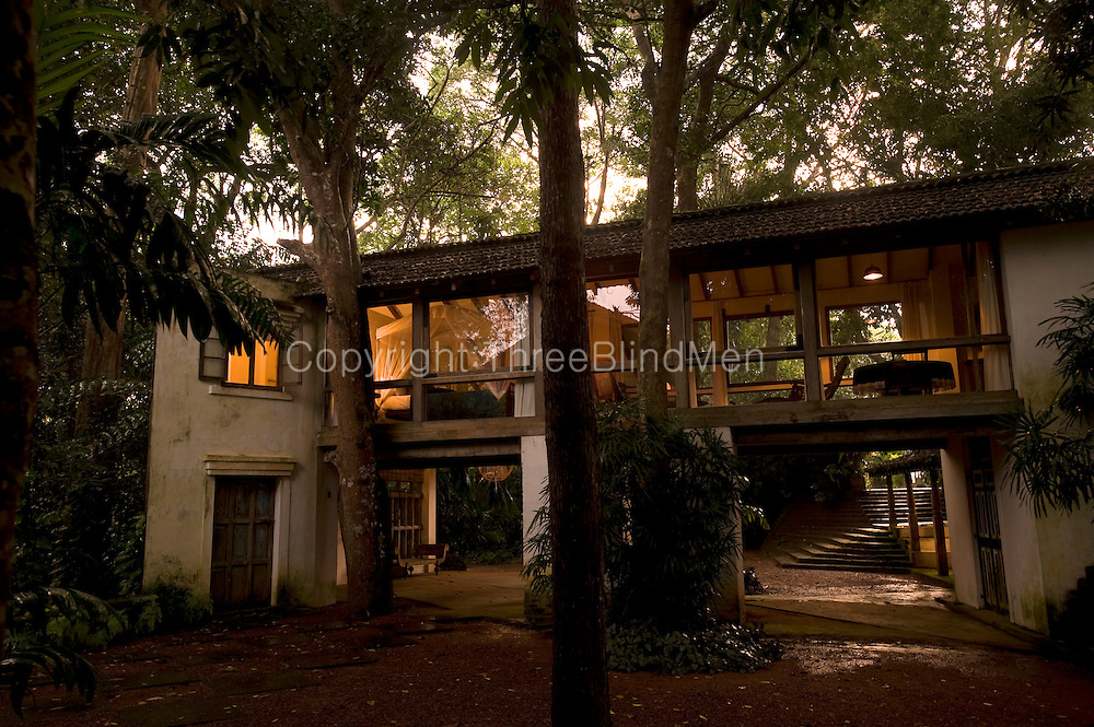 The Glass Bridge Pavilion at dusk.<br /> <br /> Lunuganga. The country home and garden of Geoffrey Bawa.