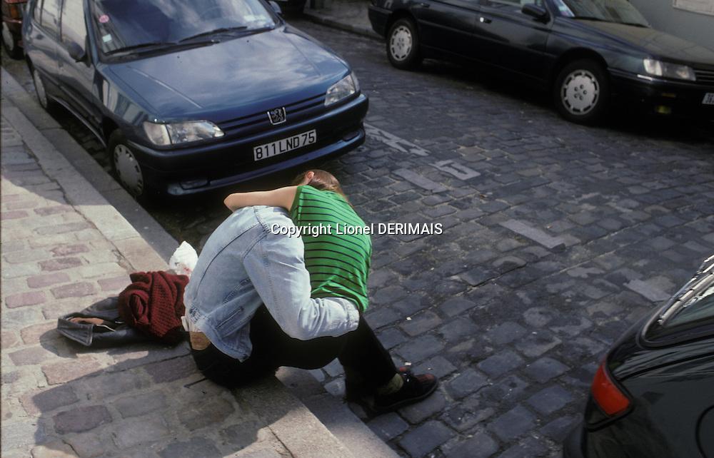 Lovers rue d'Orchampt, Montmartre, Paris, France. Kodachrome