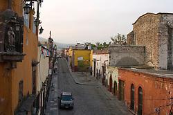 Early morning street scene in San Miguel de Allende, Mexico.