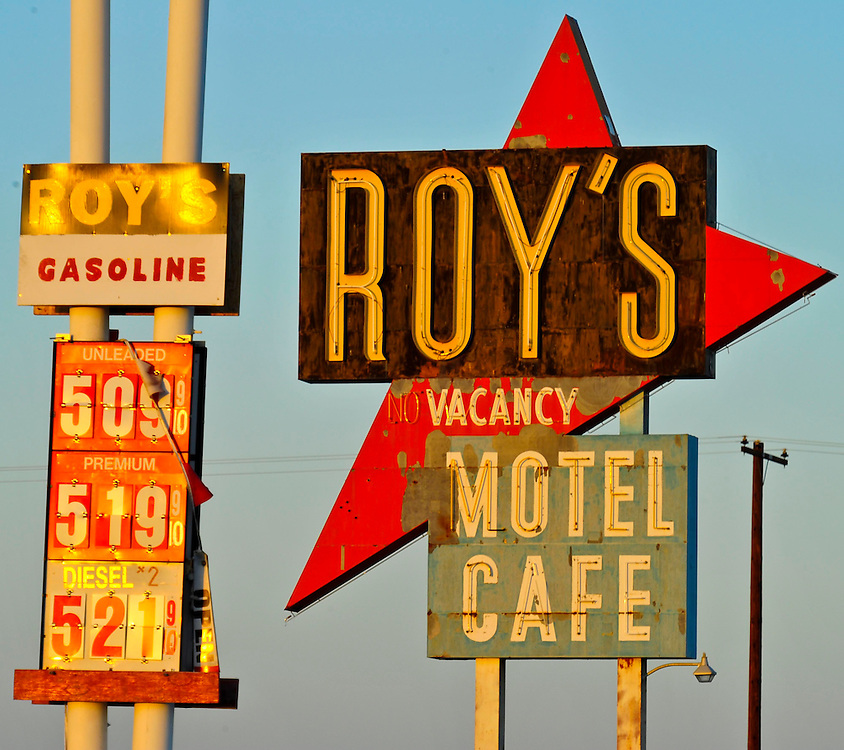 Roy's Motel and Cafe is a Route 66 mainstay in the Mojave Desert in California. The picturesque diner, gas station, and motel is undergoing a renovation and gas is available again. Roy's is on the Route 66 alignment between Needles and Barstow.