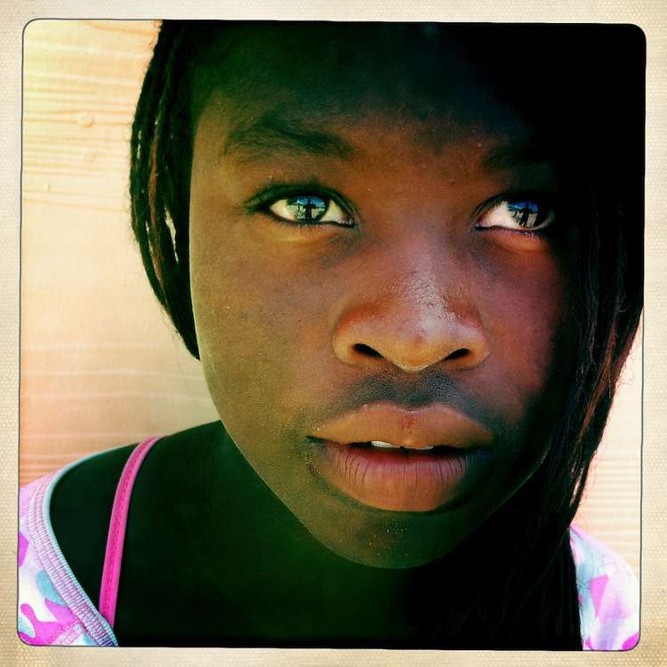 A girl at the Corail camp on Wednesday, April 4, 2012 in Port-au-Prince, Haiti.