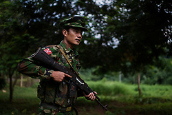 Laiza 20160913<br /> A K.I.A rebell at one of their outposts near Laiza in Kachin State in Myanmar.<br /> Photo: Vilhelm Stokstad / Kontinent