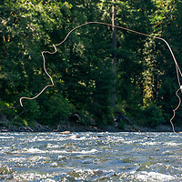 WA09134-00...WASHINGTON - Fly fishing on the Middle Fork of the Snoqualme River near North Bend. (MR# J9)