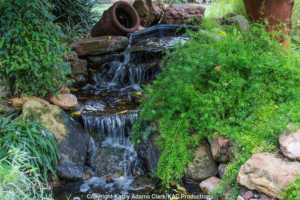 Water fountain, water cascade, asparagus fern, Garden, Houston, late summer, Texas.
