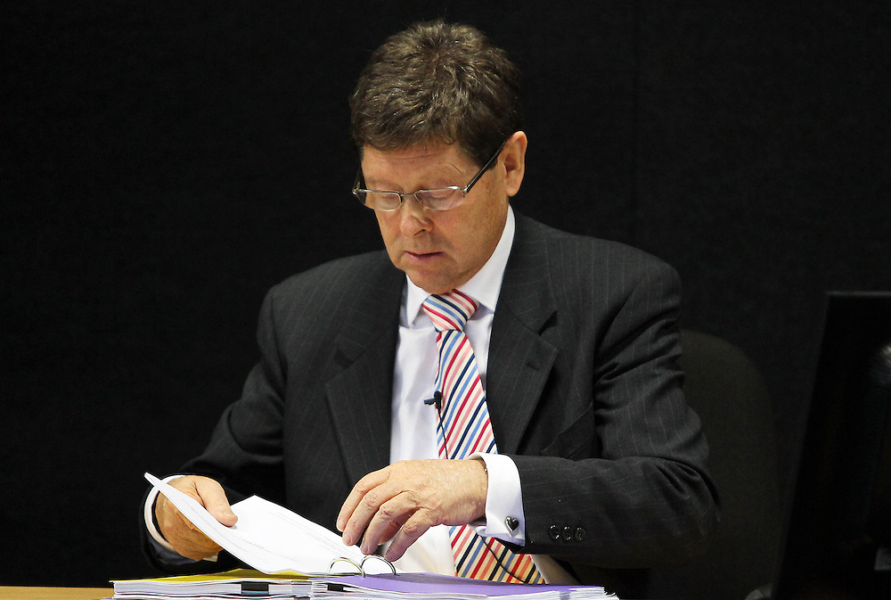 """Dr Alan Reay giving evidence at the Royal Earthquake Commission inquiry into the collapse of the CTV building, Christchurch, New Zealand, Tuesday, July 31, 2012. Credit:SNPA / The Press, Kirk Hargreaves  """"POOL"""""""""""