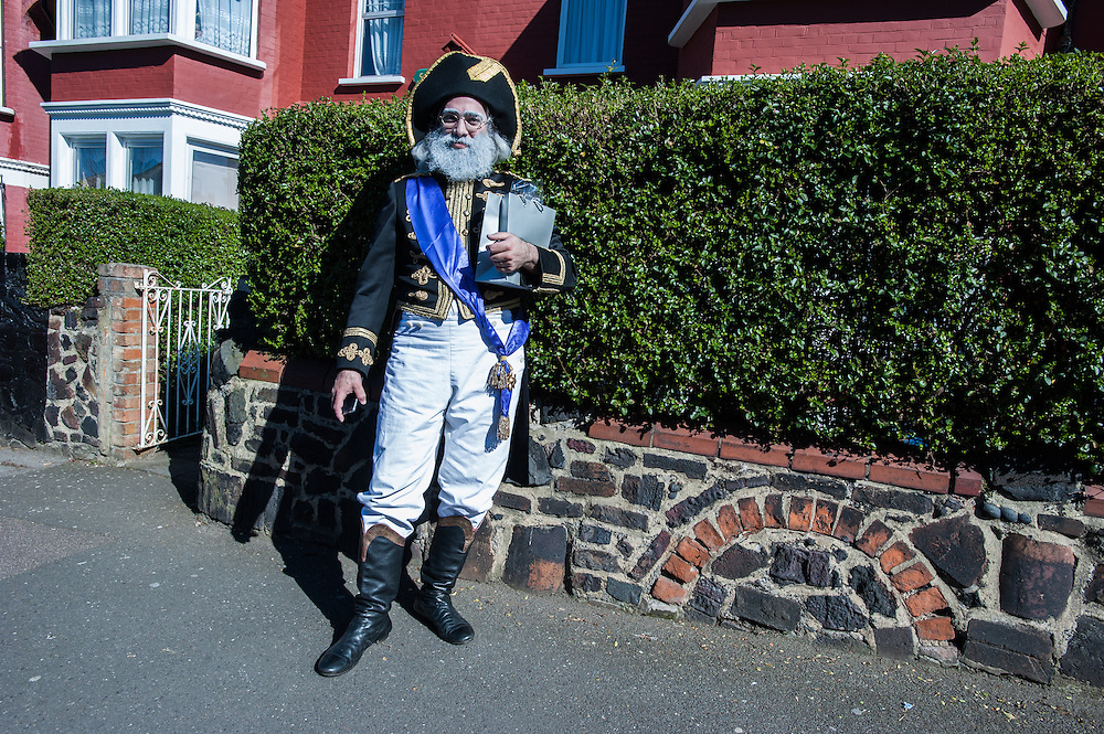 London, UK - 16 March 2014: a men from the Orthodox Jewish community of Stamford Hill celebrates the festivity of Purim dressed as Napoleon.