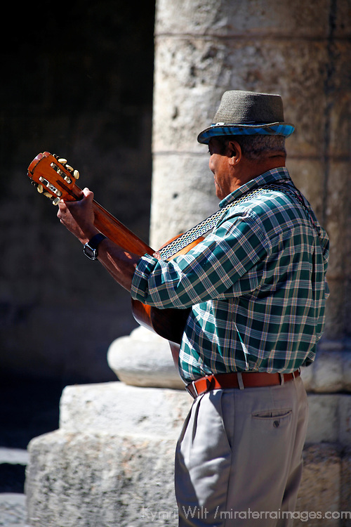 Central America, Cuba, Havana. Guitartist of Old Havana.