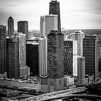 Chicago Aerial View in black and white with John Hancock Building. High resolution aerial picture of downtown Chicago taken in 2013.