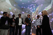 Invited members of the media get a hands on demonstration of the advanced visualization center during a tour of the King Abdullah University of Science and Technology (KAUST)  September 22, 2009 (about 80 kilometers north of Jeddah.) Cornea is a fully immersive, six-sided virtual reality facility that gives students and researchers the ability to turn data into 3D structures that they can interact with and examine. It was built in partnership with the University of California, San Diego. Photo by Scott Nelson