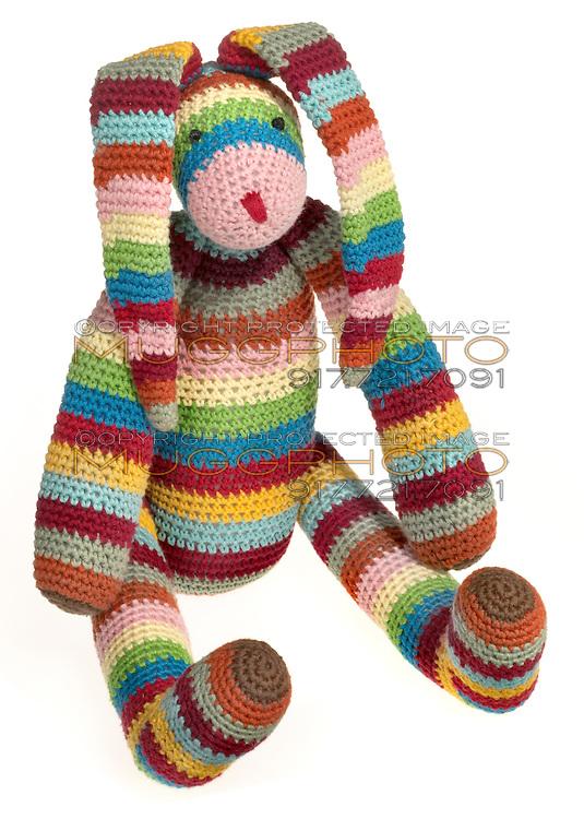 crocheted rainbow bunny