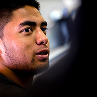 2/18/13 1:02:41 PM -- Bradenton, FL, U.S.A. -- NFL prospect and Notre Dame linebacker Manti Te'o talks with USA today as he works out at IMG Academy in Bradenton, Fla., in preparation for this year's NFL Combine.  -- ...Photo by Chip J Litherland, Freelance