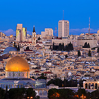 Pre-dawn view of old and new Jerusalem from the Mount of Olives.