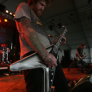 Brent Hinds (guitar & vocals), Brann Dailor (drums), and Bill Kelliher (guitar) of Mastodon performs during the third day of the 2008 Bonnaroo Music & Arts Festival on June 14, 2008 in Manchester, Tennessee. The four-day music festival features a variety of musical acts, arts and comedians..Photo by Bryan Rinnert