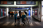 Local girls wait a the main train station in Bienne, Switzerland. Image © Angelos Giotopoulos/Falcon Photo Agency