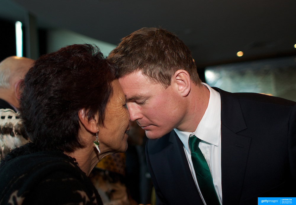 "Brian O""Driscoll receives a traditional Maori welcome from Hana Morgan during the  Civic welcome for the Irish team at Skyline.  Queenstown, New Zealand, 4th September 2011. Photo Tim Clayton.."