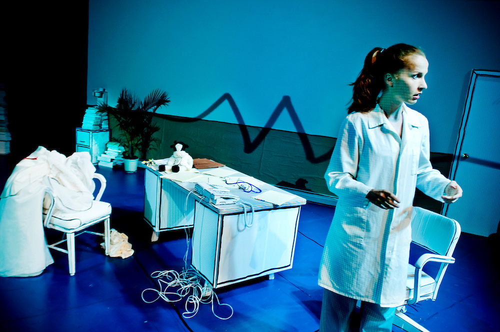 """Norwegian actress Anna Gutto in her own play """"In Security"""""""