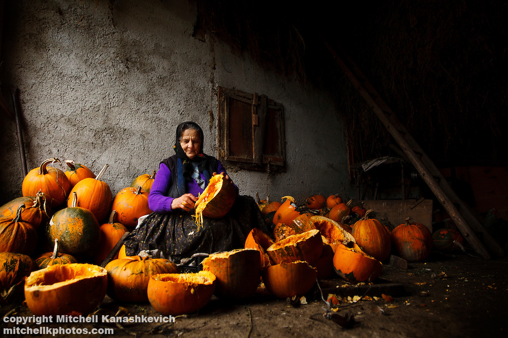 Elderly Romaninan woman cleaning pumpkins