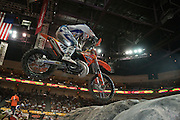 #111 Taddy Blazusiak launches the tire step-up gaining valuable time and securing a spot into Main event.<br /> <br /> <br /> 2009 Endurocross Round #1 held at the Orleans Arena in Las Vegas, Nevada