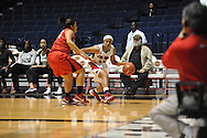"Ole Miss' Diara Moore (10) vs. Lamar's Jasmin Henderson (44) in women's college basketball at the C.M. ""Tad"" Smith Coliseum in Oxford, Miss. on Monday, November 19, 2012.  Lamar won 85-71."