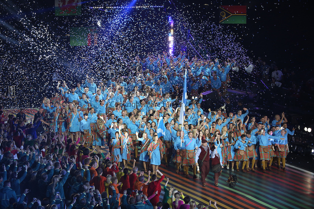 Glasgow, Scotland - July 23:  Opening Ceremony <br /> <br /> Team Scotland  at Celtic Park on July 23, 2014 in Glasgow, Scotland. (Photo  by Marc Turner/Capture The Event)