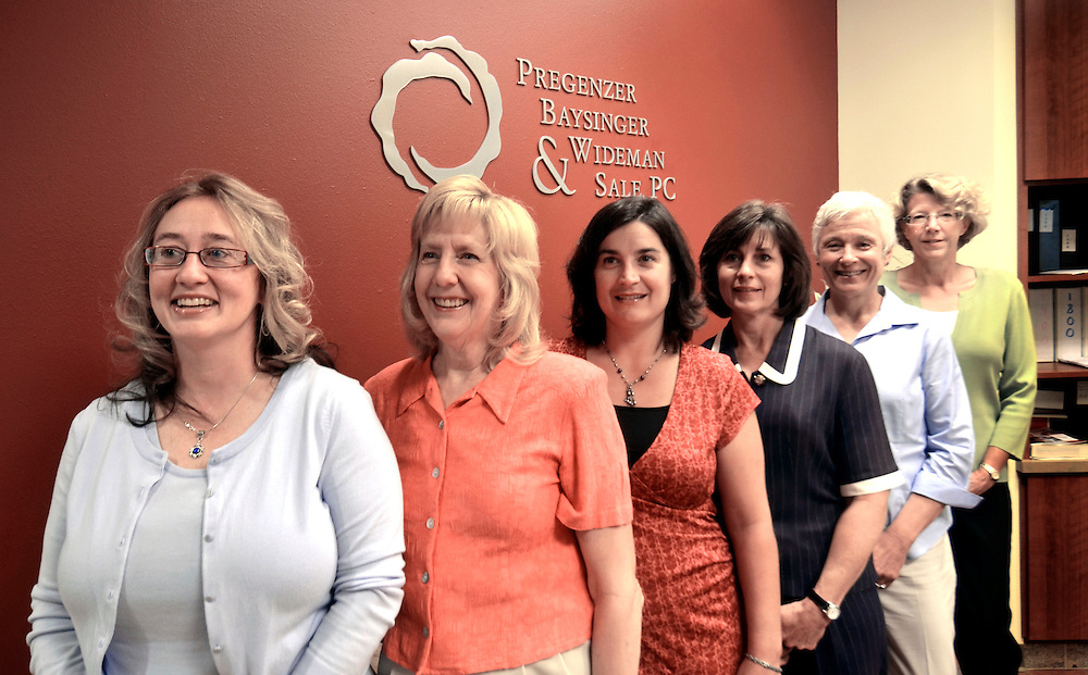 rp070111f/ Sage / Albuquerque Journal/ 070111/  The women lawyers of the law firm Pregenzer, Baysinger, Wideman & Sale. They are, left to right, Erin Wideman, Nell Sale, Sara Traub, Marcy Baysinger, Ruth Pregenzer, and Stormy Ralstin. (Albuquerque Journal  /Richard Pipes)