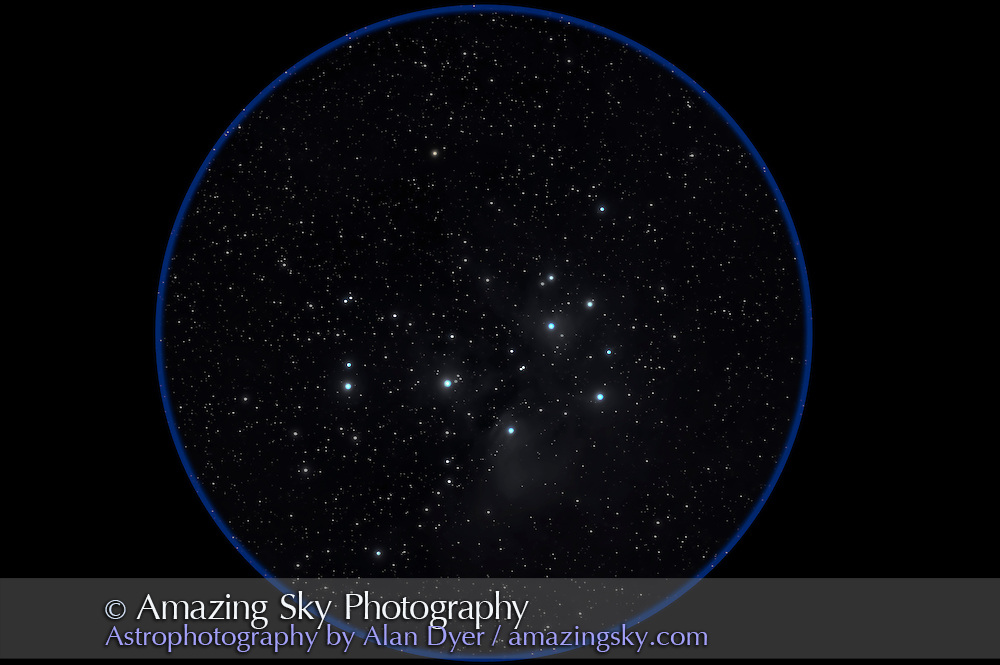 M45, Pleiades, long exposure to reveal surrounding faint reflection nebulosity. Taken January 17, 2009 with 77mm f/4 Borg astrograph refractor (300mm focal length) and Canon 20Da camera at ISO 400 for 4 x 18 minute exposures. Some RA trailing on 3 of the exposures for some reason.
