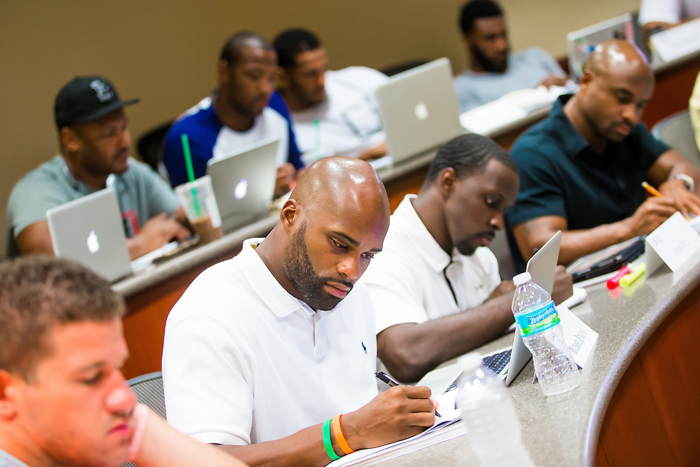 MIAMI, FL - June 24, 2015 -- NFL player Michael Jenkins participates in a Legal & Ethical Implications of Executive Decision Making class taught by Professor Patricia Abril at the University of Miami as part of their Miami Executive MBA for Artists & Athletes program on Wednesday, June 24, 2015.  (PHOTO / CHIP LITHERLAND)