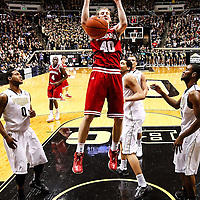 WEST LAFAYETTE, IN - JANUARY 30: Cody Zeller #40 of the Indiana Hoosiers dunks the ball against the Purdue Boilermakers at Mackey Arena on January 30, 2013 in West Lafayette, Indiana. Indiana defeated Purdue 97-60. (Photo by Michael Hickey/Getty Images) *** Local Caption *** Cody Zeller