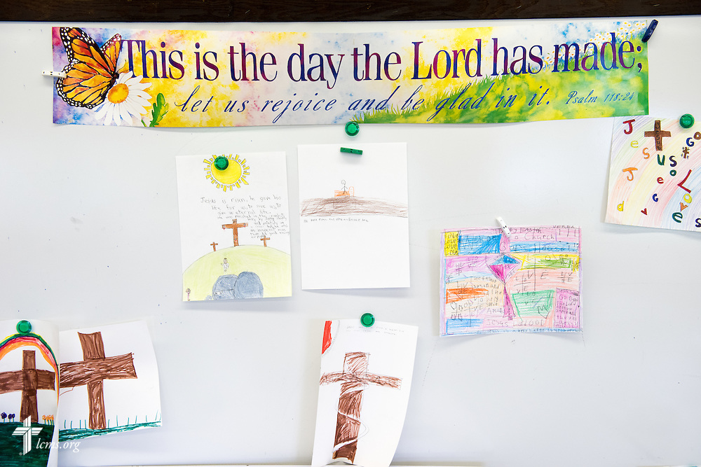 Student artwork hangs in a classroom at Lutheran Special School & Education Services, located in Milwaukee Lutheran High School, on Tuesday, May 19, 2015, in Milwaukee, Wis. LCMS Communications/Erik M. Lunsford