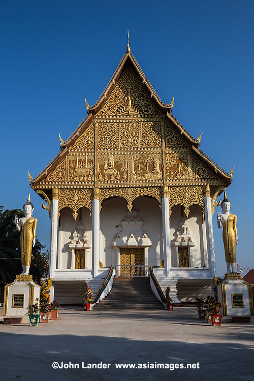 Pha That Luang stupa is the symbol of the city of Vientiane, the capital of Laos. It's a huge golden stupa, built in the year 1566. Its golden color is not painting but it is literally covered in gold. Pha That Luang Temple is considered to be a monument of national pride in Laos. Its central stupa is covered in 500 kilos of gold leaf and is surrounded by a cloister which houses various statues of Buddha and paintings. The stupa is built on three levels, which symbolize the ascent from the Earth to the sky. The first level is the underworld, the second level perfections of Buddhism and the third level, the prelude to the Kingdom of heaven.  Pha That Luang literally means great golden stupa was built in 1566.  According to popular belief, the temple housed a rib of Buddha brought from India by missionaries of the Court of the Emperor Ashoka.